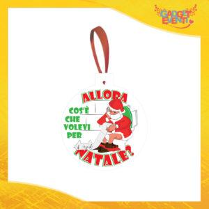 """Addobbo Natalizio Palla Bianco """"Cosa Volevi per Natale"""" Appendino per Albero e Decorazioni Idea Regalo Natalizia Originale Gadget Eventi"""