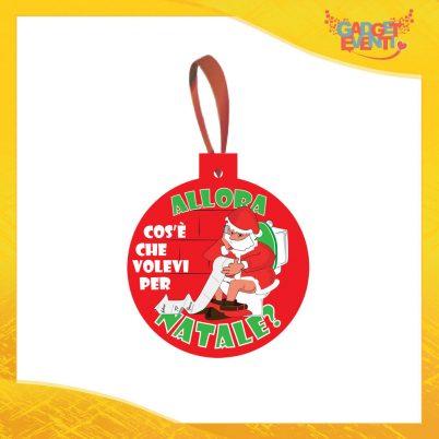 """Addobbo Natalizio Palla Rosso """"Cosa Volevi per Natale"""" Appendino per Albero e Decorazioni Idea Regalo Natalizia Originale Gadget Eventi"""