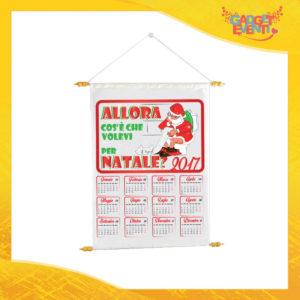 """Calendario Natalizio Personalizzato Grafica Bianca """"Cosa Volevi per Natale"""" con Asta per appenderlo Idea Regalo Festività Natalizie Gadget Eventi"""