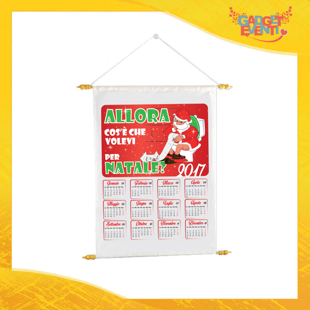 """Calendario Natalizio Personalizzato Grafica Rossa """"Cosa Volevi per Natale"""" con Asta per appenderlo Idea Regalo Festività Natalizie Gadget Eventi"""