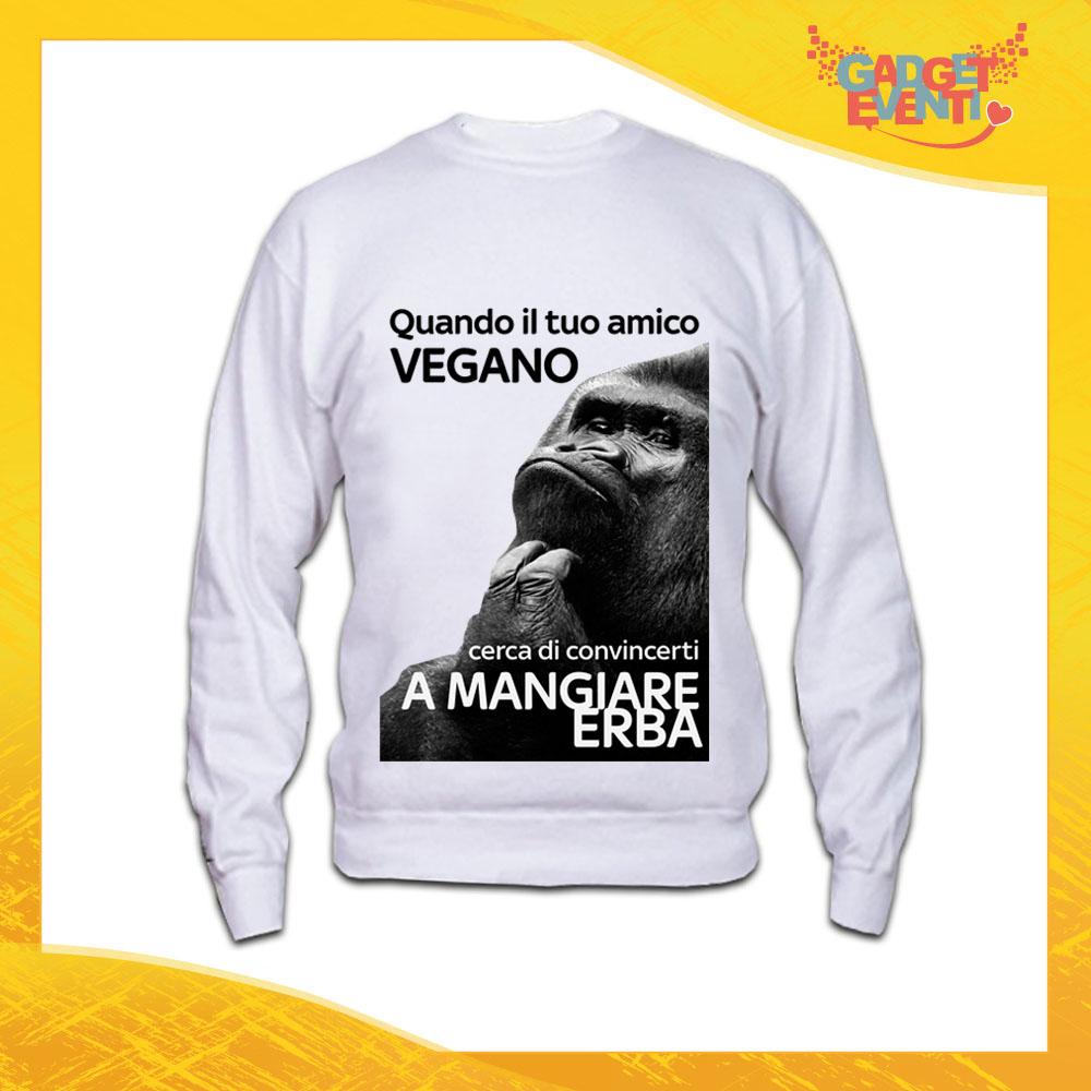 """Felpa Bianca Personalizzata """"Amico Vegano"""" Girocollo o Cappuccio Maglia per l'inverno idea Regalo Maglione Gadget Eventi"""