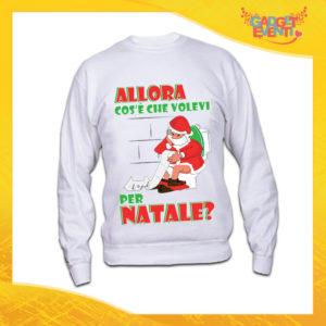 """Felpa Natalizia Bianca """"Cosa Volevi per Natale"""" Girocollo o con Cappuccio Maglia per l'inverno Maglione Natalizio Idea Regalo Gadget Eventi"""