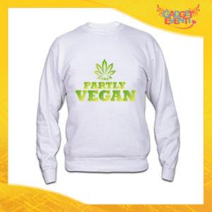 """Felpa Bianca Personalizzata """"Partly Vegan"""" Girocollo o Cappuccio Maglia per l'inverno idea Regalo Maglione Gadget Eventi"""