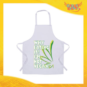 """Grembiule da Cucina Bianco """"I'm Not Vegan"""" Ristorazione Idea Regalo per settore alimentare Gadget Eventi"""