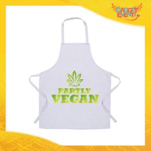"Grembiule da Cucina Bianco ""Partly Vegan"" Ristorazione Idea Regalo per settore alimentare Gadget Eventi"