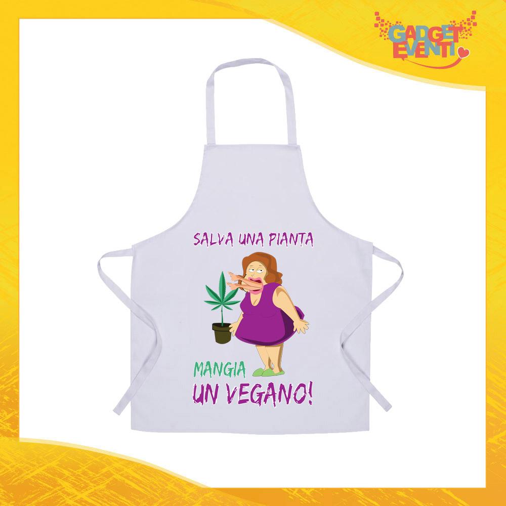 """Grembiule da Cucina Bianco """"Salva una Pianta, Mangia un Vegano"""" Ristorazione Idea Regalo per settore alimentare Gadget Eventi"""