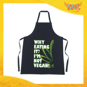 "Grembiule da Cucina Nero ""I'm Not Vegan"" Ristorazione Idea Regalo per settore alimentare Gadget Eventi"
