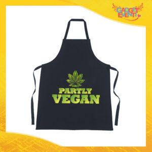 """Grembiule da Cucina Nero """"Partly Vegan"""" Ristorazione Idea Regalo per settore alimentare Gadget Eventi"""