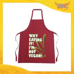 """Grembiule da Cucina Rosso Burgundy """"I'm Not Vegan"""" Ristorazione Idea Regalo per settore alimentare Gadget Eventi"""