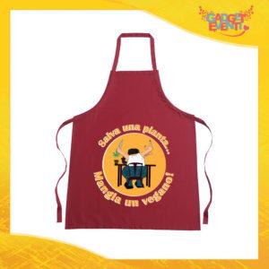 "Grembiule da Cucina Rosso Burgundy ""Mangia un Vegano"" Ristorazione Idea Regalo per settore alimentare Gadget Eventi"