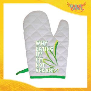 """Guanto da Forno Bordo Verde """"I'm Not Vegan"""" Anti Scottatura Idea Regalo per Mamme per la Casa e la Ristorazione Gadget Eventi"""