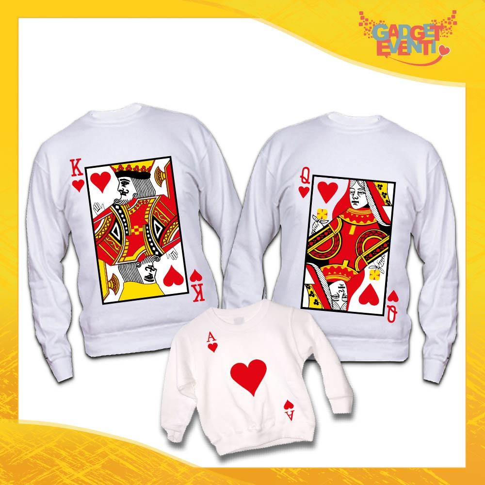 """Poker di Felpe Bianche Personalizzate """"Carte da Ramino"""" Padre Madre Figli idea regalo per tutta la famiglia Gadget Eventi"""