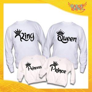 """Poker di Felpe Bianche Personalizzate """"Famiglia Reale Corona"""" Padre Madre Figli idea regalo per tutta la famiglia Gadget Eventi"""