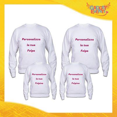 Poker di Felpe Bianche Personalizzate con foto testi immagini e frasi idea regalo per Famiglie Padre Madre e Figli Gadget Eventi