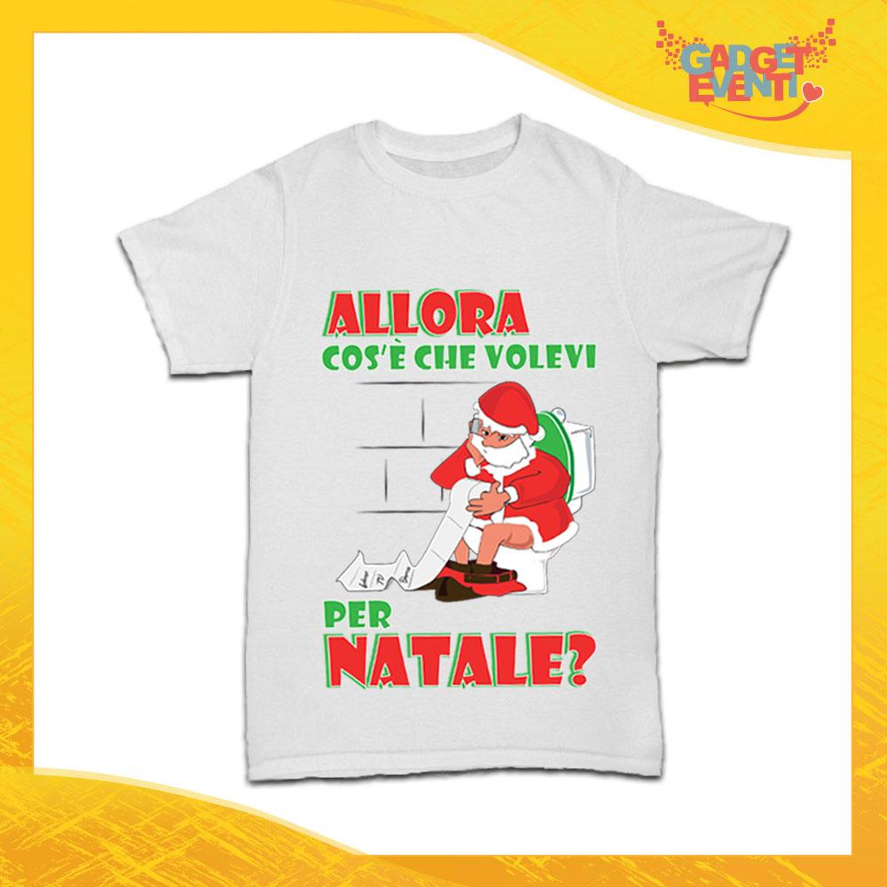 """T-Shirt Bimbo Natalizia Bianca """"Cosa Volevi per Natale"""" Maglietta per l'inverno Maglia Natalizia Idea Regalo per Bambini Gadget Eventi"""