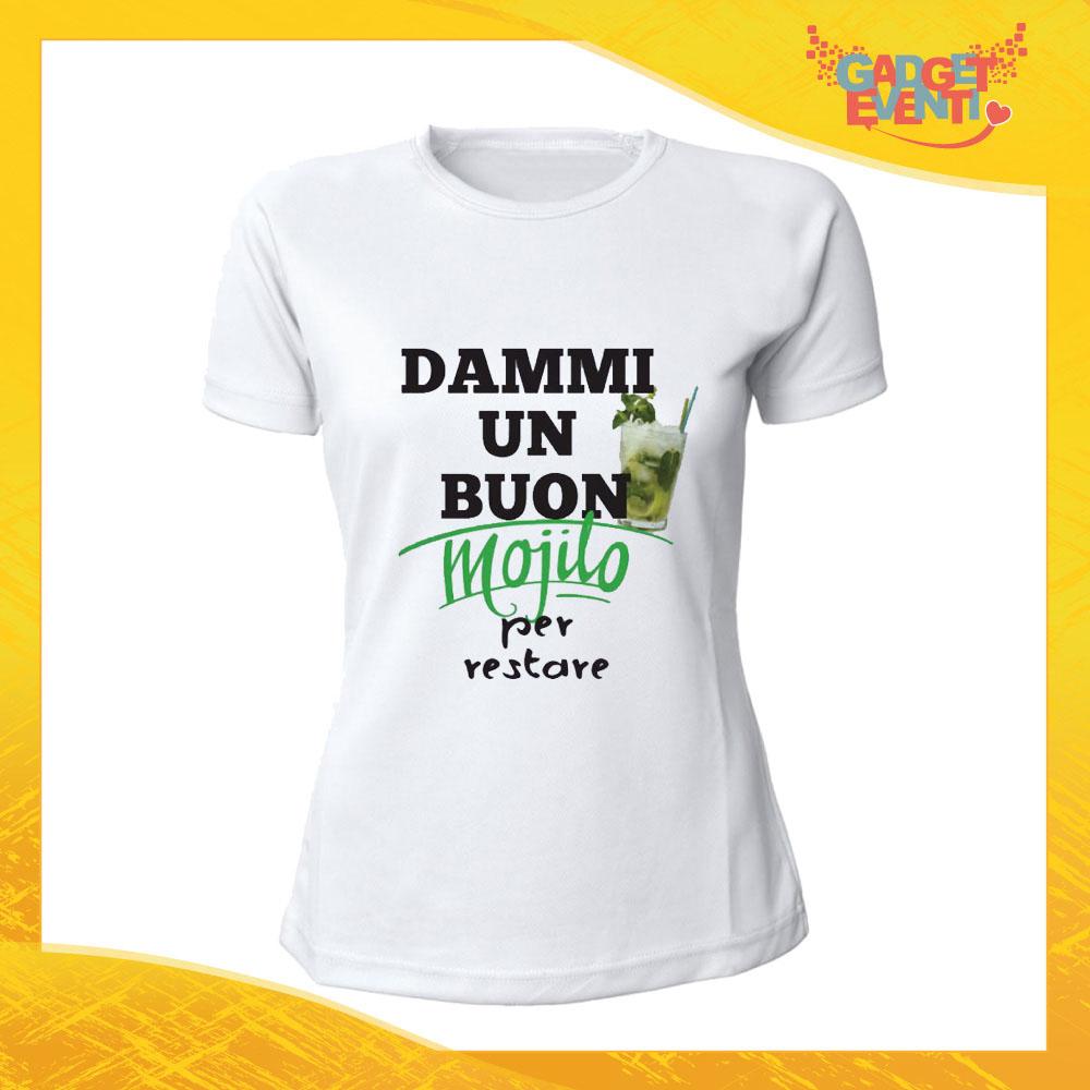 """T-Shirt Donna Bianca """"Dammi un buon mojito"""" Maglia Maglietta Idea Regalo Divertente Gadget Eventi"""