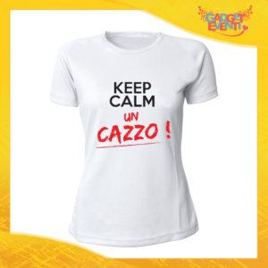"""T-Shirt Donna Bianca """"Keep Calm un cazzo"""" Maglia Maglietta Idea Regalo Divertente Gadget Eventi"""