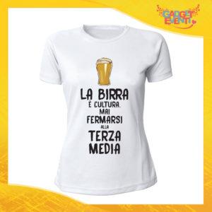 """T-Shirt Donna Bianca """"La Birra è Cultura"""" Maglia Maglietta Idea Regalo Divertente Gadget Eventi"""