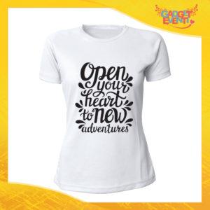"""T-Shirt Donna Bianca """"Open Your Heart"""" Maglia Maglietta Idea Regalo Divertente Gadget Eventi"""