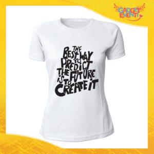 """T-Shirt Donna Bianca """"Predict The Future"""" Maglia Maglietta Idea Regalo Divertente Gadget Eventi"""