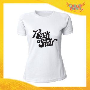"""T-Shirt Donna Bianca """"Rock Star"""" Maglia Maglietta Idea Regalo Divertente Gadget Eventi"""