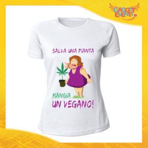"""T-Shirt Donna Bianca """"Salva una Pianta"""" Maglia per l'estate Idea Regalo Maglietta Femminile Gadget Eventi"""