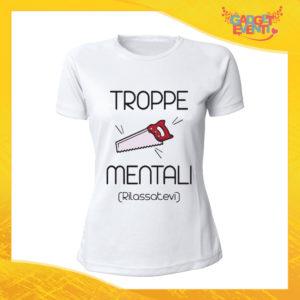 """T-Shirt Donna Bianca """"Troppe Pippe Mentali"""" Maglia Maglietta Idea Regalo Divertente Gadget Eventi"""