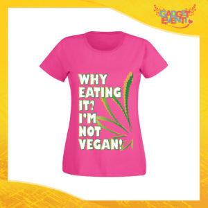 """T-Shirt Donna Fucsia """"I'm Not Vegan"""" Maglia per l'estate Idea Regalo Maglietta Femminile Gadget Eventi"""