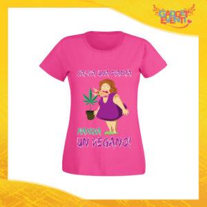 """T-Shirt Donna Fucsia """"Salva una Pianta"""" Maglia per l'estate Idea Regalo Maglietta Femminile Gadget Eventi"""