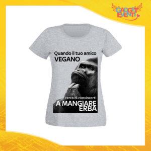 """T-Shirt Donna Grigia """"Amico Vegano"""" Maglia per l'estate Idea Regalo Maglietta Femminile Gadget Eventi"""