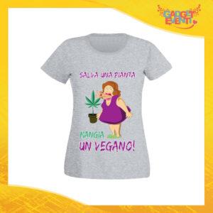 """T-Shirt Donna Grigia """"Salva una Pianta"""" Maglia per l'estate Idea Regalo Maglietta Femminile Gadget Eventi"""