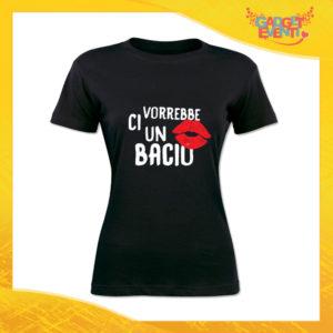 """T-Shirt Donna Nera """"Ci vorrebbe un bacio"""" Maglia Maglietta Idea Regalo Divertente Gadget Eventi"""