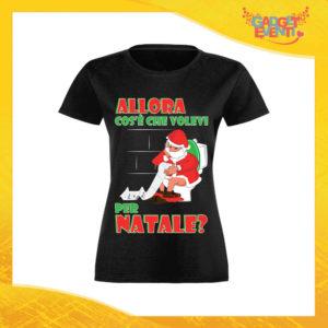 """T-Shirt Donna Natalizia Nera """"Cosa Volevi per Natale"""" Maglietta per l'inverno Maglia Natalizia Idea Regalo Gadget Eventi"""