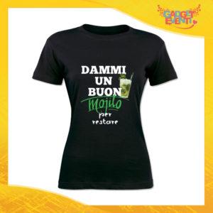 """T-Shirt Donna Nera """"Dammi un buon mojito"""" Maglia Maglietta Idea Regalo Divertente Gadget Eventi"""