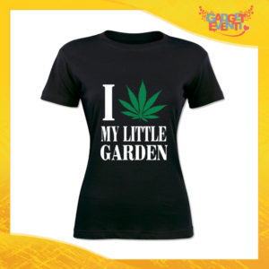 """T-Shirt Donna Nera """"I Love my Little Garden"""" Maglia Maglietta Idea Regalo Divertente Gadget Eventi"""