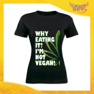 "T-Shirt Donna Nera ""I'm Not Vegan"" Maglia per l'estate Idea Regalo Maglietta Femminile Gadget Eventi"