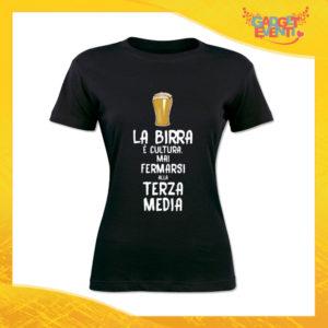 """T-Shirt Donna Nera """"La Birra è Cultura"""" Maglia Maglietta Idea Regalo Divertente Gadget Eventi"""
