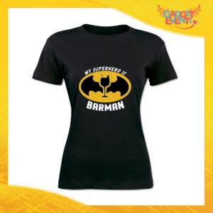 """T-Shirt Donna Nera """"My Superhero is Barman"""" Maglia Maglietta Idea Regalo Divertente Gadget Eventi"""