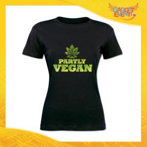 """T-Shirt Donna Nera Partly Vegan"""" Maglia per l'estate Idea Regalo Maglietta Femminile Gadget Eventi"""