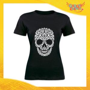 """T-Shirt Donna Nera """"Skull Decoration"""" Maglia Maglietta Idea Regalo Divertente Gadget Eventi"""