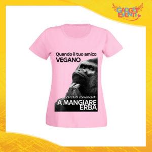"""T-Shirt Donna Rosa """"Amico Vegano"""" Maglia per l'estate Idea Regalo Maglietta Femminile Gadget Eventi"""