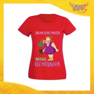 """T-Shirt Donna Rossa """"Salva una Pianta"""" Maglia per l'estate Idea Regalo Maglietta Femminile Gadget Eventi"""