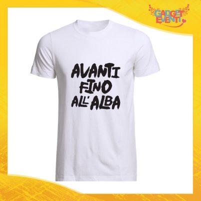 """T-Shirt Uomo Bianca """"Avanti fino all'alba"""" Maglia Maglietta Maschile Idea Regalo Divertente per un Ragazzo Gadget Eventi"""
