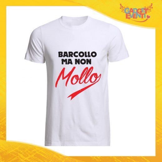 """T-Shirt Uomo Bianca """"Barcollo ma non Mollo"""" Maglia Maglietta Maschile Idea Regalo Divertente per un Ragazzo Gadget Eventi"""