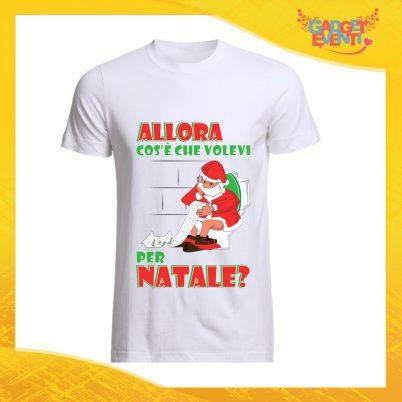 """T-Shirt Uomo Natalizia Bianca """"Cosa Volevi per Natale"""" Maglietta per l'inverno Maglia Natalizia Idea Regalo Gadget Eventi"""