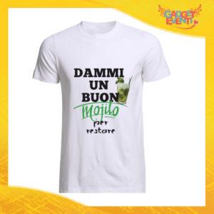 """T-Shirt Uomo Bianca """"Dammi un buon Mojito"""" Maglia Maglietta Maschile Idea Regalo Divertente per un Ragazzo Gadget Eventi"""