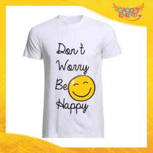 """T-Shirt Uomo Bianca """"Don't Worry Be Happy"""" Maglia Maglietta Maschile Idea Regalo Divertente per un Ragazzo Gadget Eventi"""