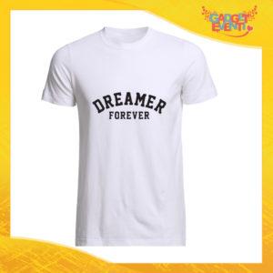 """T-Shirt Uomo Bianca """"Dreamer Forever"""" Maglia Maglietta Maschile Idea Regalo Divertente per un Ragazzo Gadget Eventi"""