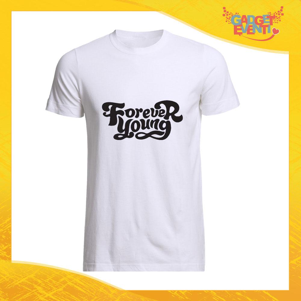 """T-Shirt Uomo Bianca """"Forever Young"""" Maglia Maglietta Maschile Idea Regalo Divertente per un Ragazzo Gadget Eventi"""