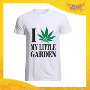 """T-Shirt Uomo Bianca """"I Love my Little Garden"""" Maglia Maglietta Maschile Idea Regalo Divertente per un Ragazzo Gadget Eventi"""